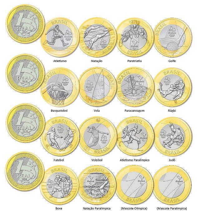 Novas moedas de Um Real comemorativas da Olimpíadas no Brasil