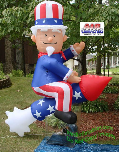 Air Blown Inflatable Patriotic Uncle Sam On Rocket
