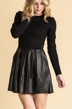 Living Doll impact dress with leather look skirt and fabric top with exposed back zip. Hot! $94.95 and available at www.threadsandstyle.com.au