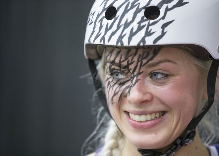 """Signe Sletmoen """"Sletmoen,"""" a skater for Norway, shows off helmet-matching makeup after a game. (Bob Scheer/USA TODAY Sports Images)"""