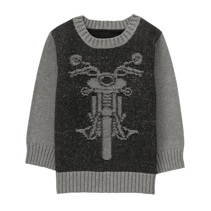 Toddler Boy Asphalt Grey Moto Sweater by Gymboree