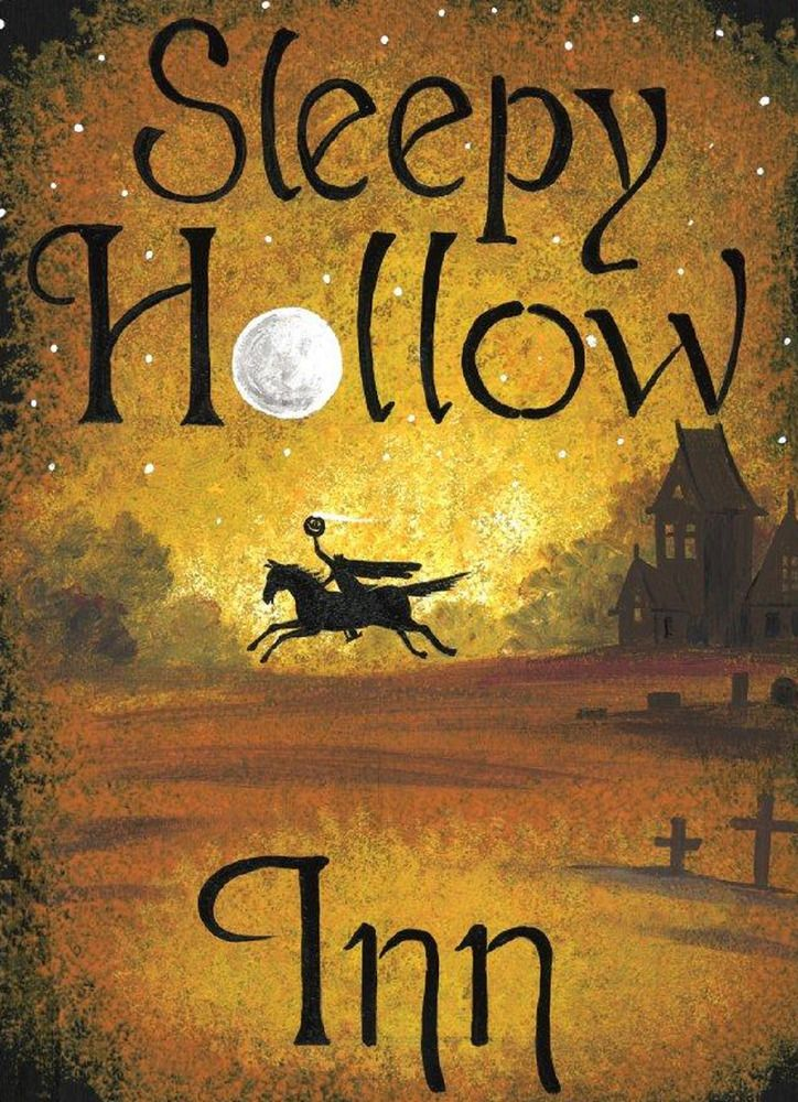 8x11 Halloween SIGN SLEEPY HOLLOW INN RYTA HEADLESS HORSEMAN BLACK CAT PRIMITIVE #Vintagestylefolk