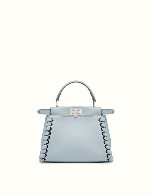 FENDI MINI PEEKABOO - Light blue nappa handbag with weaving - view 1 ... 987b2437507f7