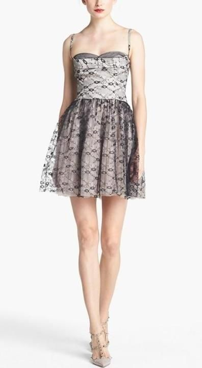 Silver, RED Valentino Bustier Lace & Tulle Dress