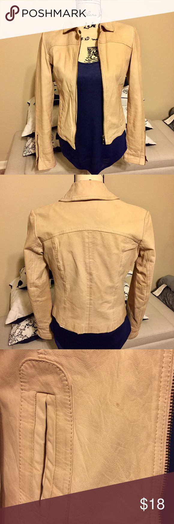 Vntg Authentic Genuine Leather Jacket Vintage Genuine soft leather light pinkish beige authentic Guess jacket. Form hugging and sexy. In need of dry cleaning. My town doesn't have leather dry cleaners, otherwise I wouldn't be selling this jacket. Very good quality item. Some wear around the sleeves. No rips or tears, no bad smells. Polyester lining. Guess Jackets & Coats Blazers