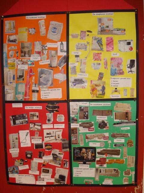 groepswerk - ieder groepje knipt uit folders dingen voor een bepaalde kamer in het huis - bij mij thuis - familie - wonen