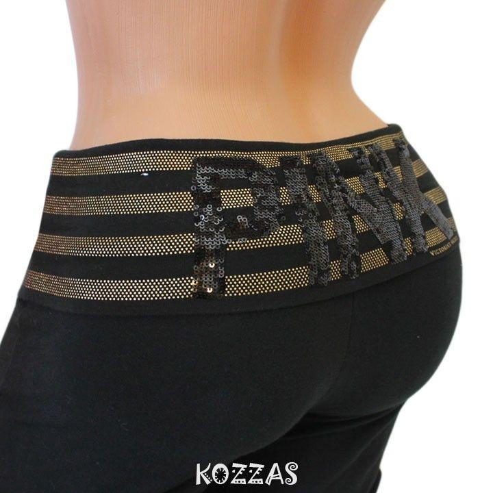 Victoria's Secret Pink Sequin Black Gold Yoga Pants... So