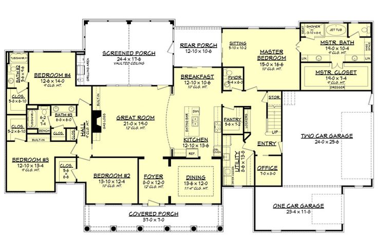 Country Style House Plan - 4 Beds 3.50 Baths 3194 Sq/Ft Plan #430-135 Floor Plan - Main Floor Plan - Houseplans.com