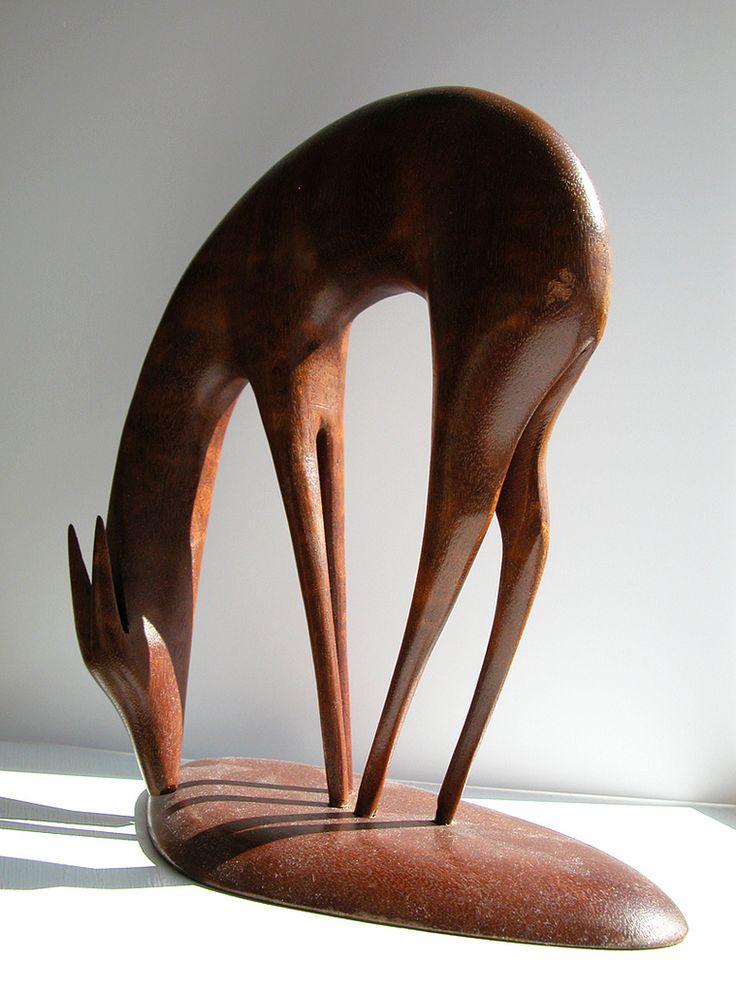 Wooden deer figurine marked (Handmade in Norway)