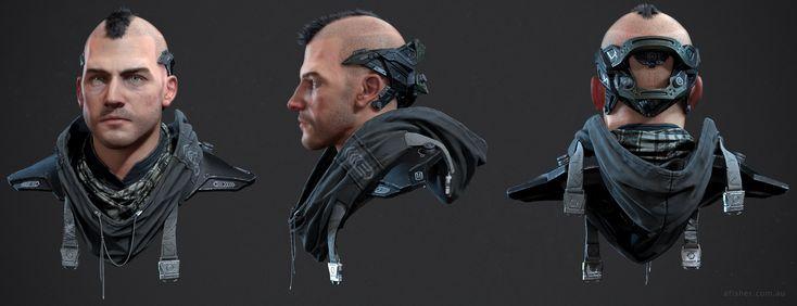 ArtStation - Cyberpunk Character Bust , Adam Fisher