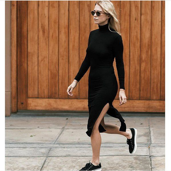 A Side-Slit Dress and Slip-On Sneakers: