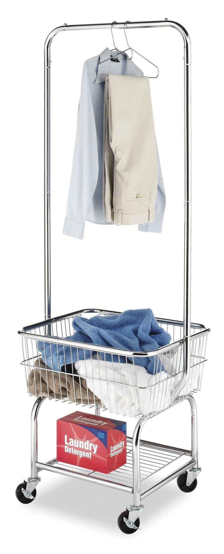 Features:  -Laundry butler.  -Can be extremely helpful in any home environment.  -High quality wheels.  -Chrome wire frame basket and a hanging bar for convenience.  Style: -Freestanding Drying Racks.