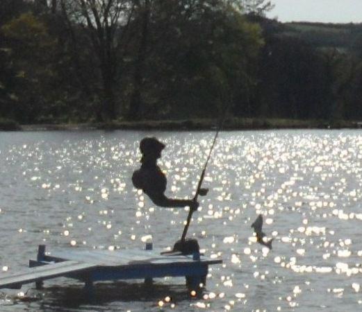 Phantom Fisherman now fishing in the lake at Delamore Arts in Devon