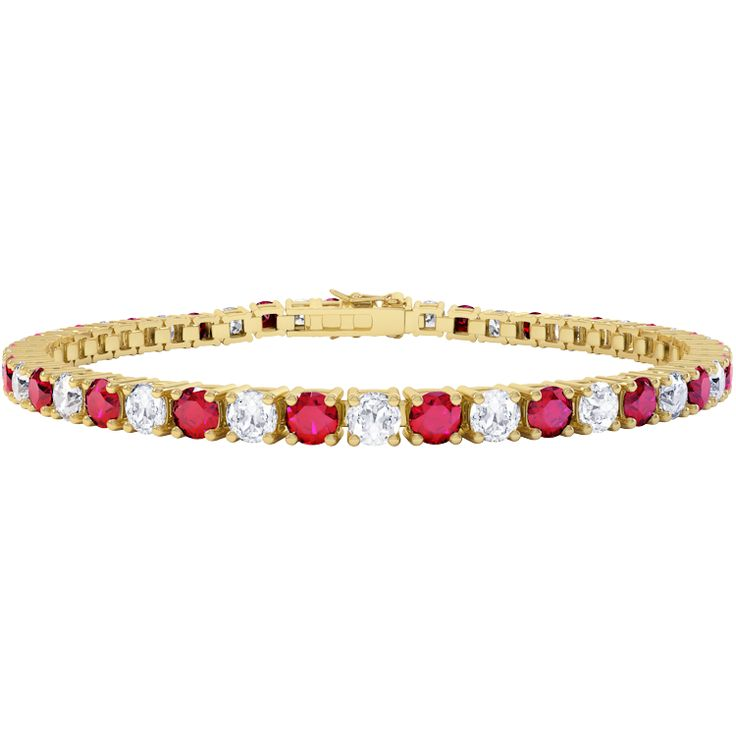 Buy Eternity Ruby and White Sapphire 18ct Gold Tennis Bracelet (YELLOW GOLD), B34567 from Jian London. Free Delivery on all orders.