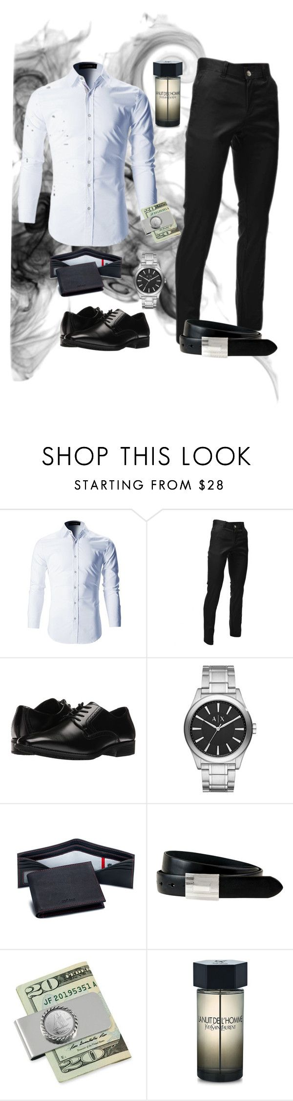 """""""men"""" by emilija-odory ❤ liked on Polyvore featuring Stacy Adams, Armani Exchange, Tokens & Icons, The British Belt Company, American Coin Treasures, Yves Saint Laurent, men's fashion and menswear"""