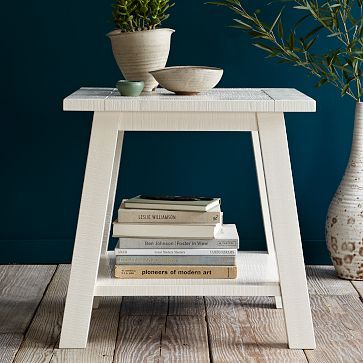 White Textured Side Table #WestElm  $150