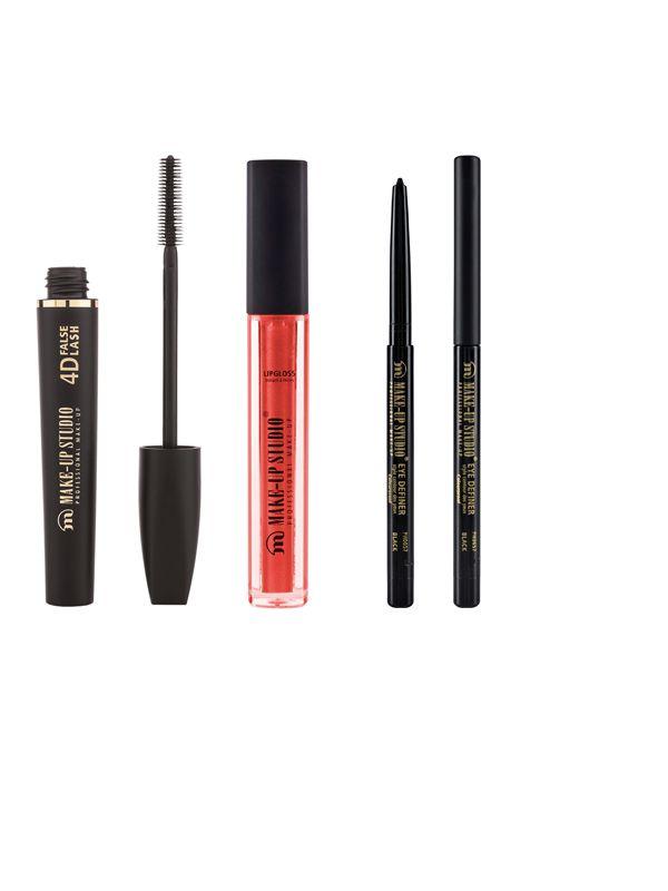 Mascara 4D False Lash Effect, Eye Definer en voor je lippen de Paint Gloss Red Lips