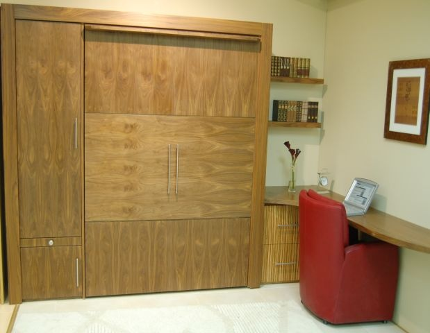 Stunning design guest Wallbed in Walnut and Zebrano mix with guest wardrobe and desk area!