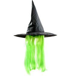 Heksehatt med parykk Grønn. 100 kr