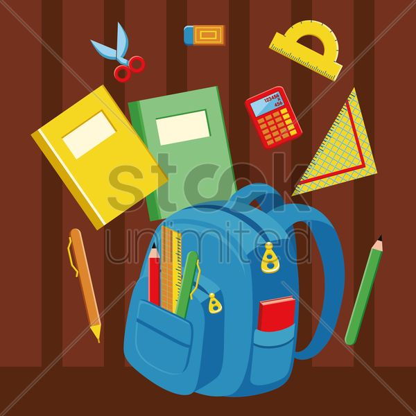 bag and stationery vector graphic