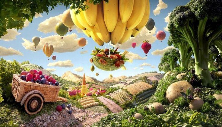 Cart and Banana Balloon is carl Warner's food artwork - Pixdaus