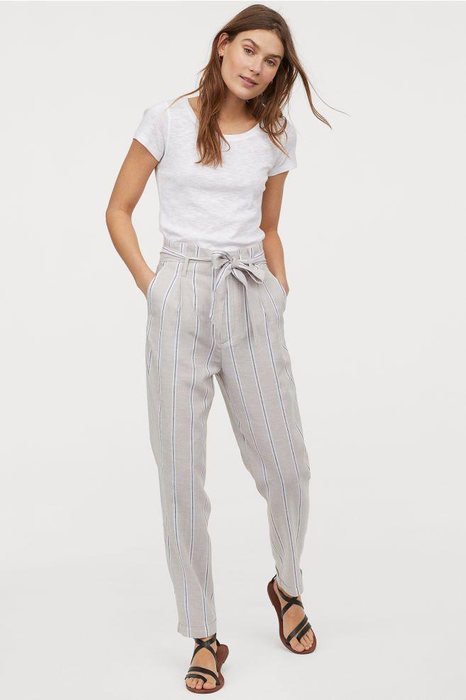 94bcb9fa153102 H&M Paper-bag Pants - Gray in 2019 | clothes | Pants, Light blue ...