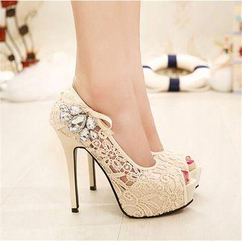 Senhoras novas marcas europeias Sexy strass rendas sapatos de casamento plataforma de salto alto bombas para mulheres sapatos femininos 35-41 30411
