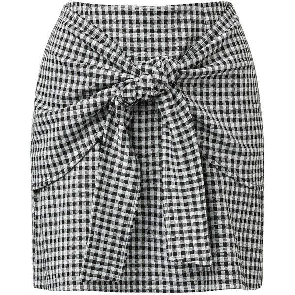 TIE FRONT A-LINE SKIRT ($47) ❤ liked on Polyvore featuring skirts, checkerboard skirt, checkered skirt, checked skirt, tie front skirt and knee length a line skirt
