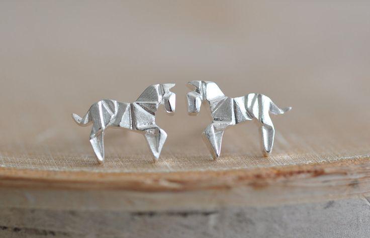 Origami Horse Stud Earrings in Sterling Silver 925 by JamberJewels