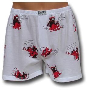 Fehér pamut boxer alsónadrág ördögökkel