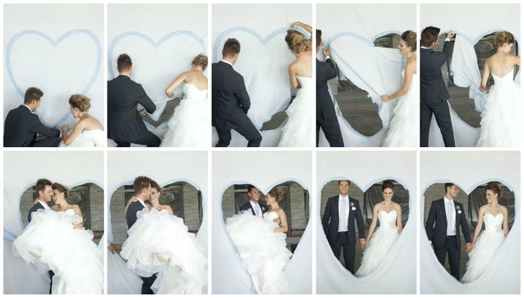 This is an old German wedding tradition. A bed sheet is strung up and a large heart shape is painted to the front of it. The bride and groom each get a pair of scissors and have to cut around each side of the heart and meet in the middle. The groom then has to carry his bride through the heart. Could this tradition be any cuter?!?!