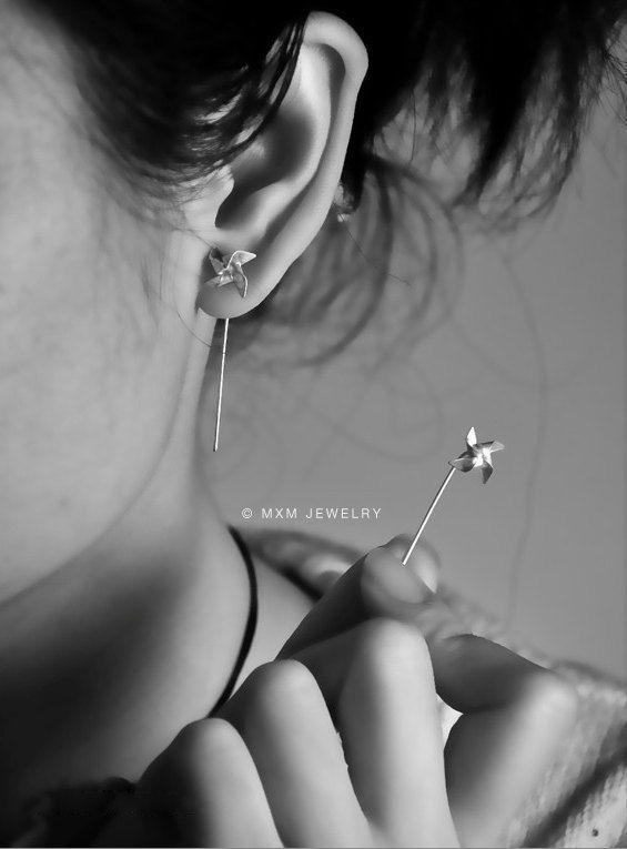 Tiny Pinwheel Earrings ll by mxmjewelry on Etsy, $38.00: Fashion, Stuff, Style, Clothing, Pinwheels Earrings, Tiny Pinwheels, Piercing, Jewelry, Accessories