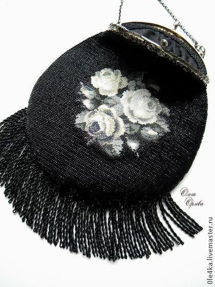 """Сумочка """"Розы"""" - чёрный,сумочка с фермуаром,ольга орлова,розы,ридикюль"""