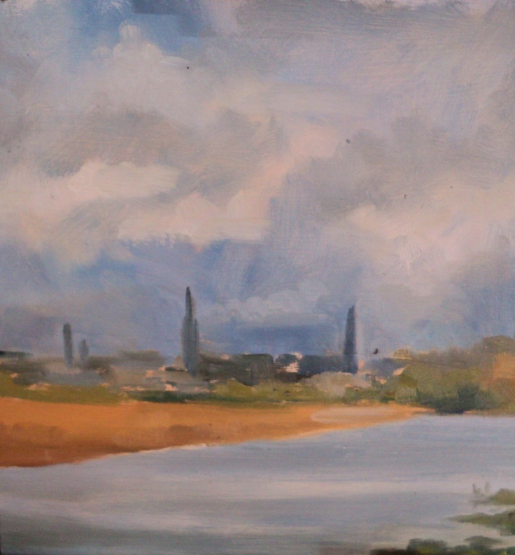 """Old Bridge Co louth.Looking back to Drogheda.Oil on panel.8""""x8""""."""