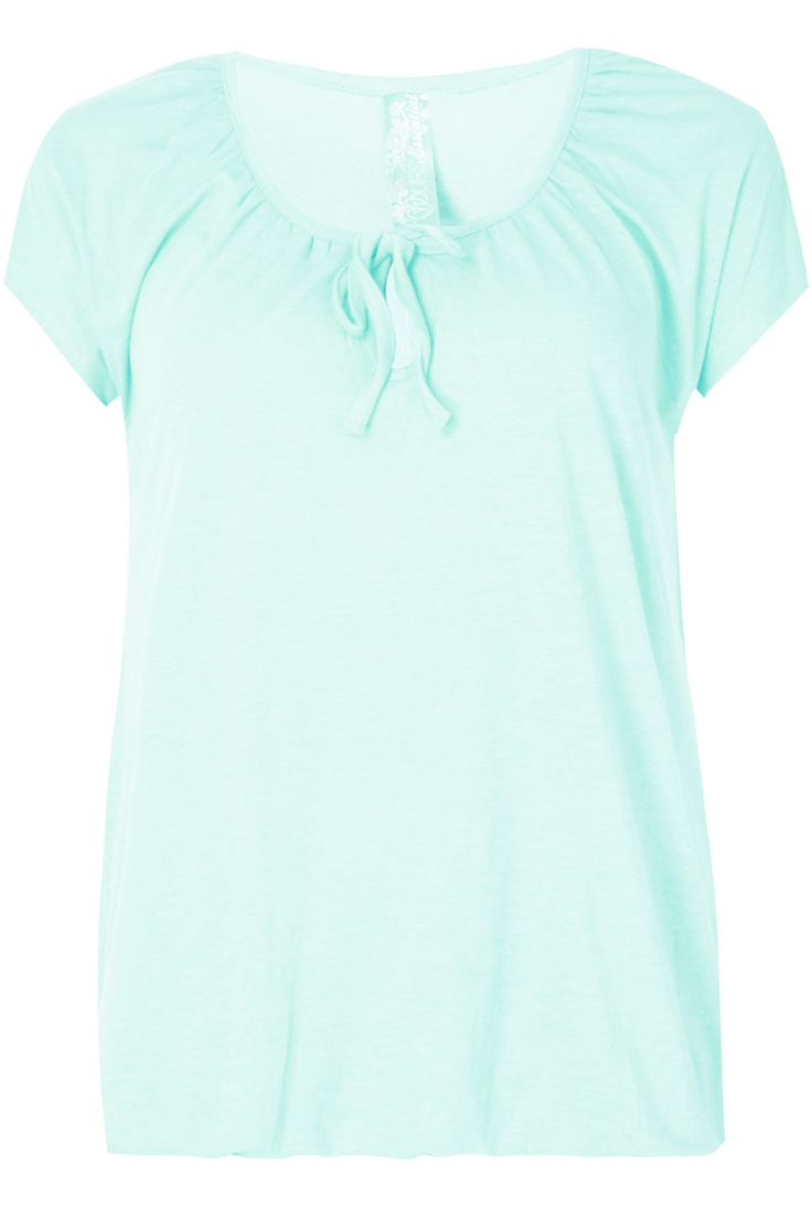 Mint Green Plain Basic Gypsy T-shirt With Bubble Hem