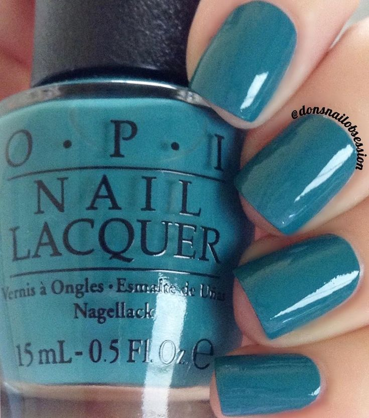 """opi Is That a Spear In Your Pocket?"""" a dusty teal green nail shade from the OPI Fiji collection"""