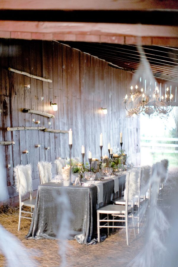 winter wonderland wedding table ideas%0A Winter Wonderland Barn Idea  Great tablescape for a Rustic winter reception