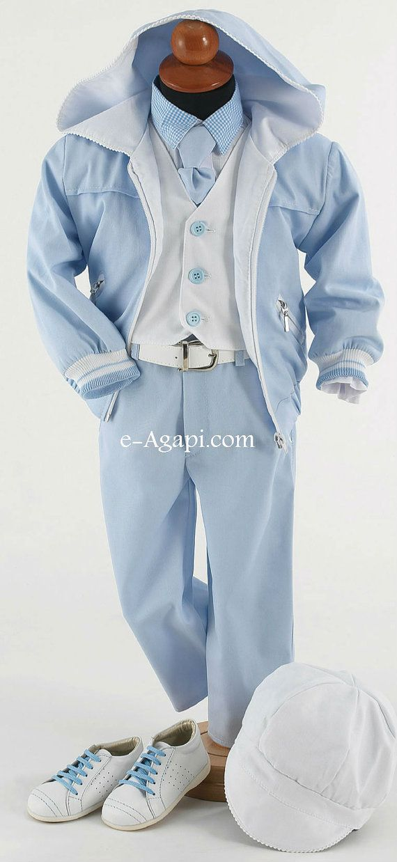 8 pcs greek Baptism Christening Baby boy blue / white