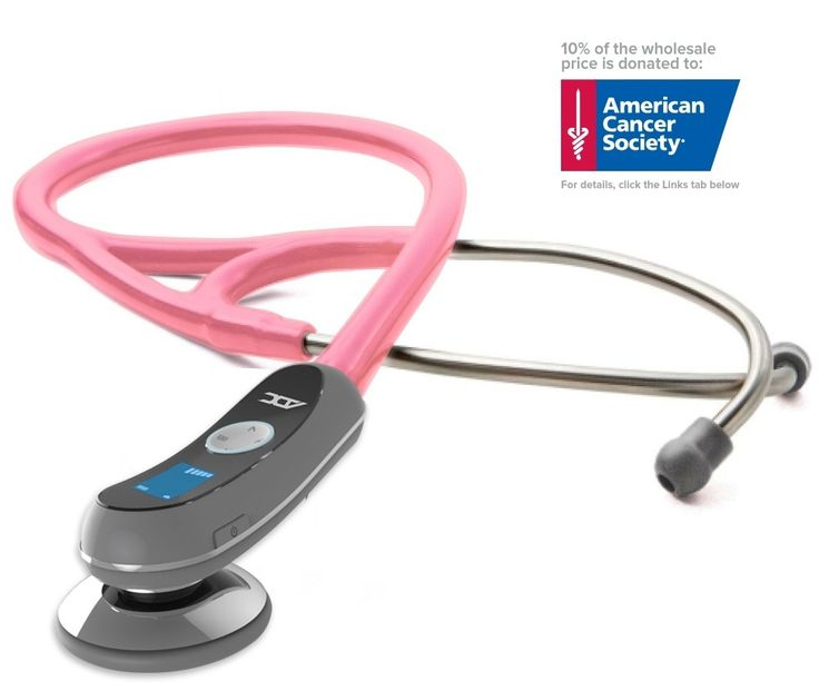 With ADC's Adscope 658 Electronic stethoscope, you'll hear sounds you may have missed with a traditional acoustic instrument. The contact-activated microphone filters higher-frequency background noises that typically interfere with auscultation, then amplifies heart and lung sounds up to 18X. In Breast Cancer Awareness Pink, with 10% of the sale price donated to the American Cancer Society.