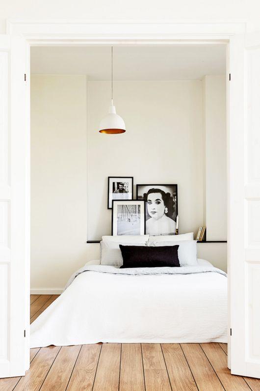 White bedding on wood flooring - simple