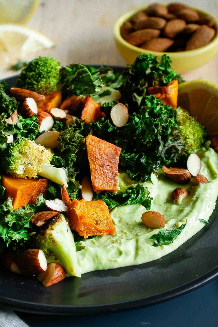 Roasted Kale, Pumpkin and Almond salad - if you think you don't like kale, try this!