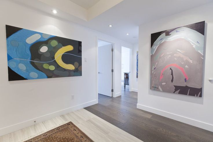 Contemporary baseboard trim entry eclectic with oversized art ceiling lighting recessed lighting