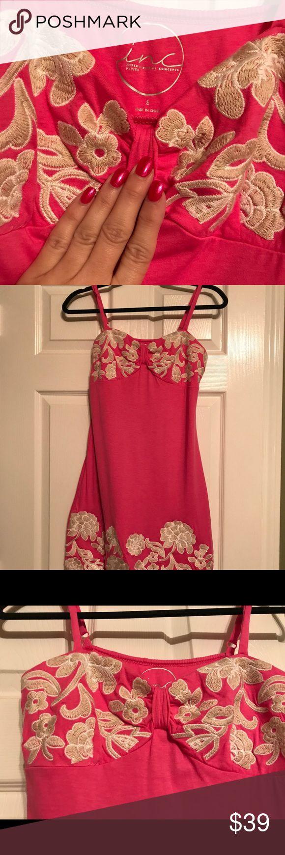 INC hot pink sundress size small INC hot pink spaghetti strapped sun dress size small INC International Concepts Dresses Mini