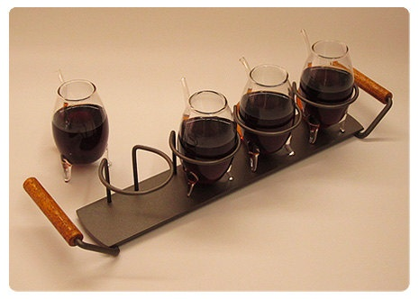 Serving Tray with Port Wine Glasses  ''The by NorthernConcepts, $61.50