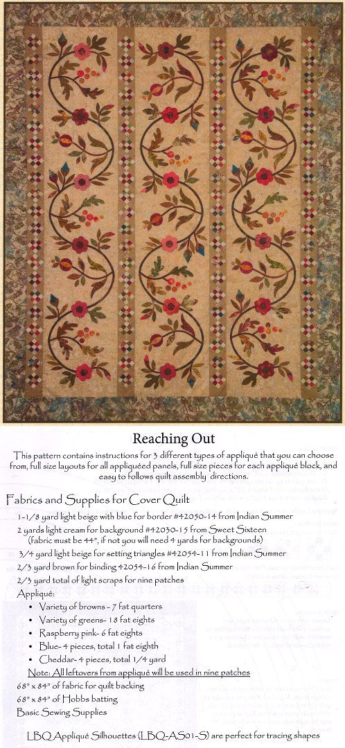 Applique Quilt Pattern Reaching Out Reaching Out