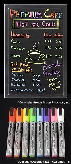 "Liquid Chalk Markers in 8 Colors, 3/16"" Chisel Tip, Perfect for Use on Blackboards"