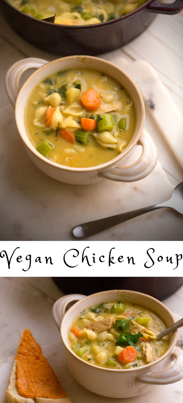 Vegan Chicken Soup with pasta, potatoes, celery, carrots and loads of warming spices. Vegan chicken or a substitute, like beans. This healing soup is an easy dinner.