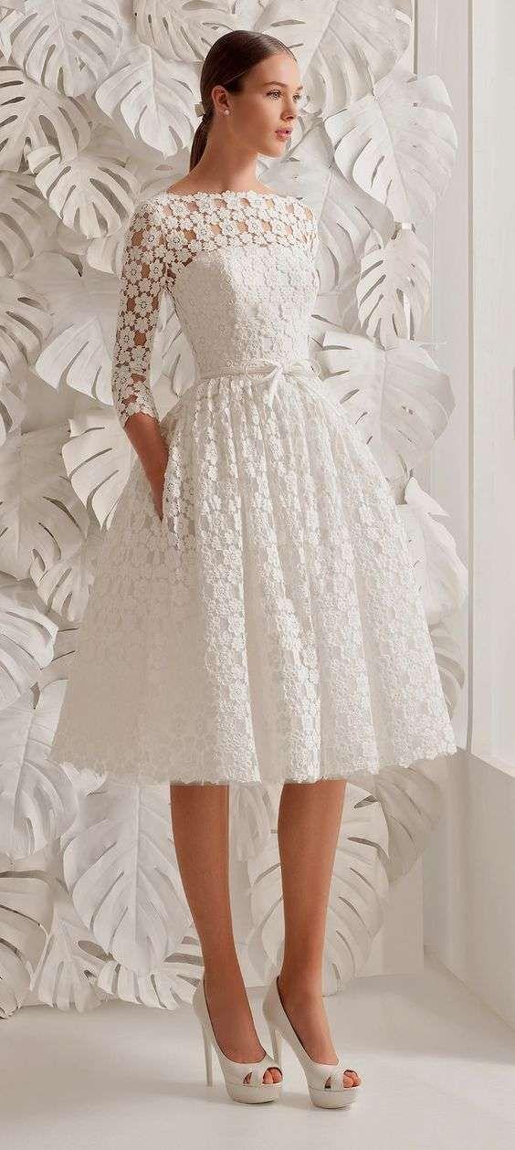 Vestidos de novia 2014: Fotos de diseños sencillos para una boda civil - Vestido de novia corto de la colección de Rosa Clará