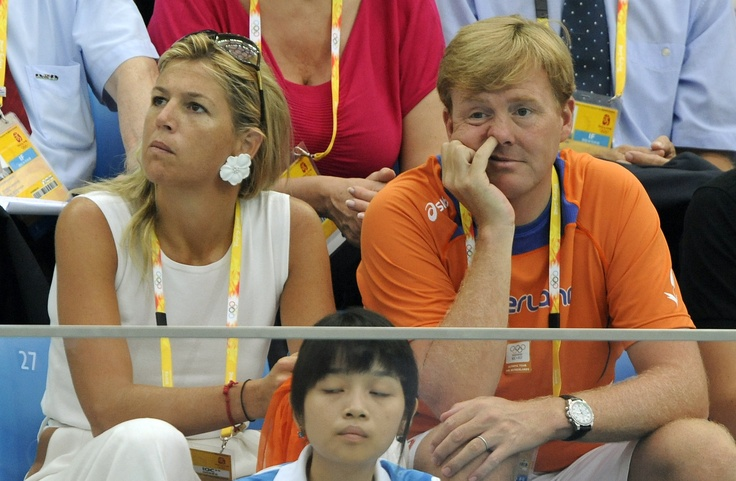 The Netherlands' Crown Prince Willem-Alexander and Crown Princess Maxima watch the swimming events at the National Aquatics Center during the Beijing 2008 Olympic Games