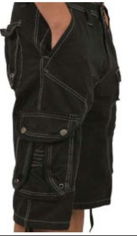 Long style  Cargo shorts for men Multi-pockets, bLACK W/STITCH. by stone touch